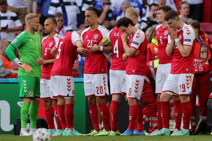 The Denmark team was distraught when Eriksen collapsed during the Euro 2020 match against Finland