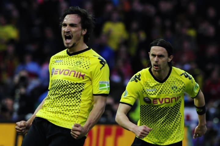 Dortmund's defender Mats Hummels (L) cel