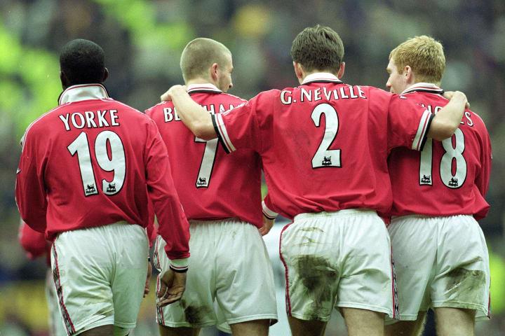 Dwight Yorke, David Beckham, Gary Neville and Paul Scholes