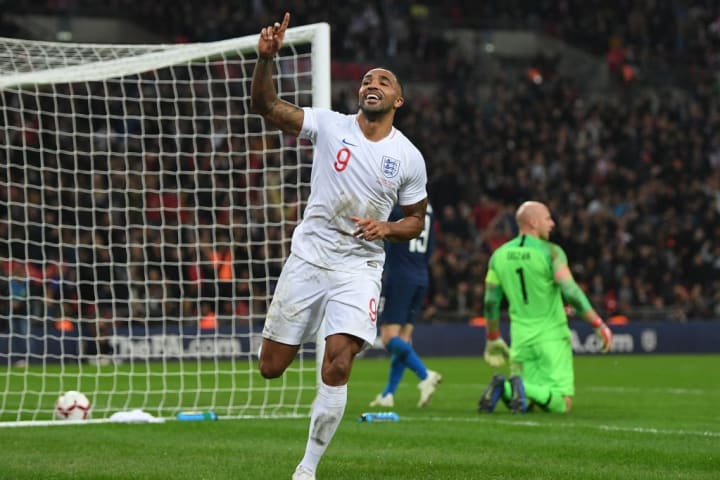 Wilson celebrating his goal for England