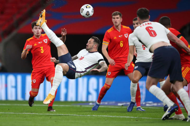 Ings scored an acrobatic effort for England against Wales