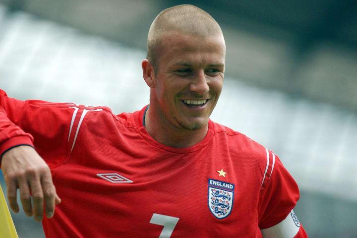 England's captain David Beckham smiles d