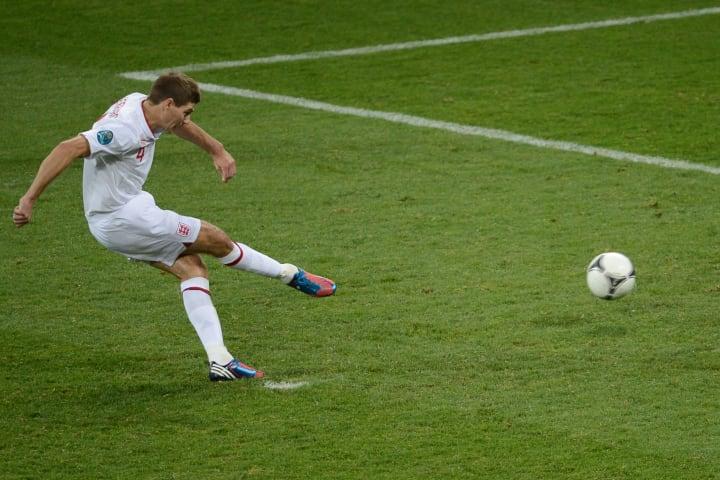 English midfielder Steven Gerrard kicks