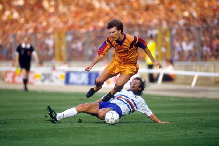 Laudrup riding a challenge during the 1992 European Cup Final against Sampdoria