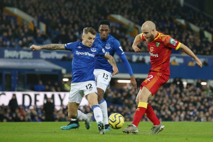 Teemu Pukki gets a shot off against Everton