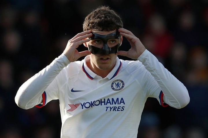 Masked Christensen in action with a broken nose earlier this season