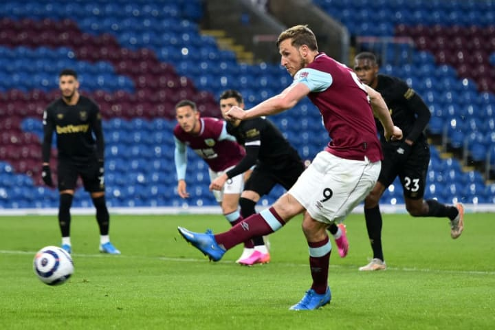 Burnley's Chris Wood scores against West Ham