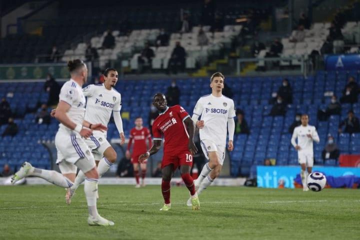 Sadio Mane scores for Liverpool against Leeds
