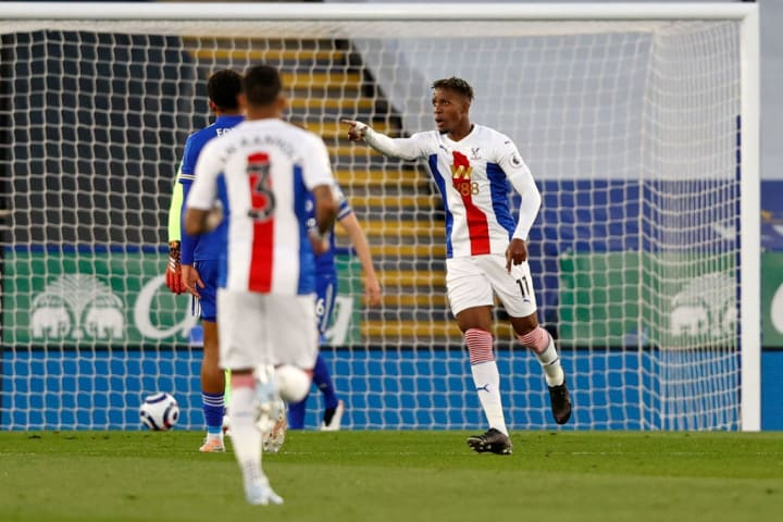 Crystal Palace's Wilfried Zaha celebrates his opener