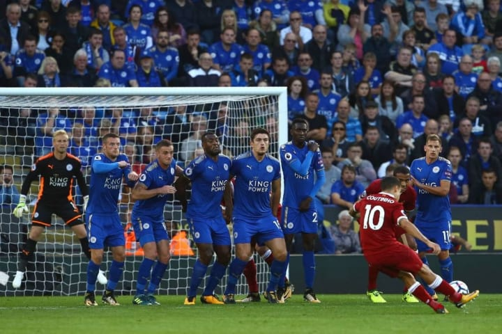 Philippe Coutinho scored free-kicks for Liverpool