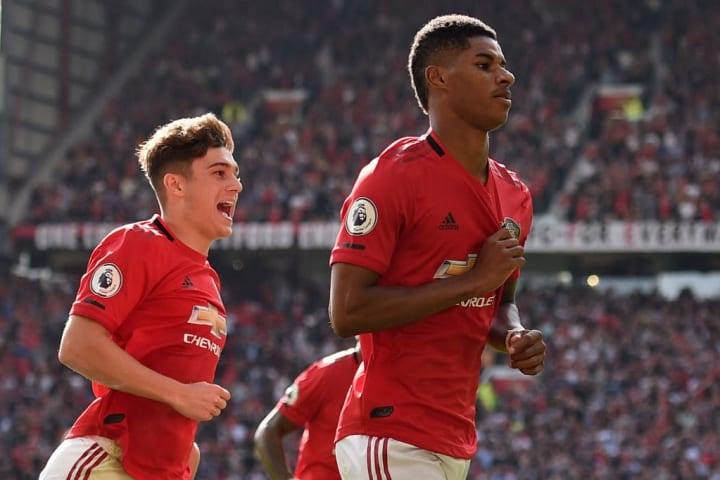 Manchester United's Daniel James and Marcus Rashford