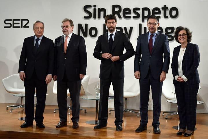 Angelli (Juventus), Pérez (Real Madrid) y Bartomeu (FC Barcelona) en un evento