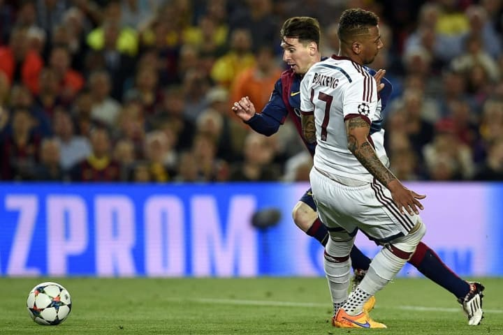 Boateng stumbles backwards after Messi's brilliance
