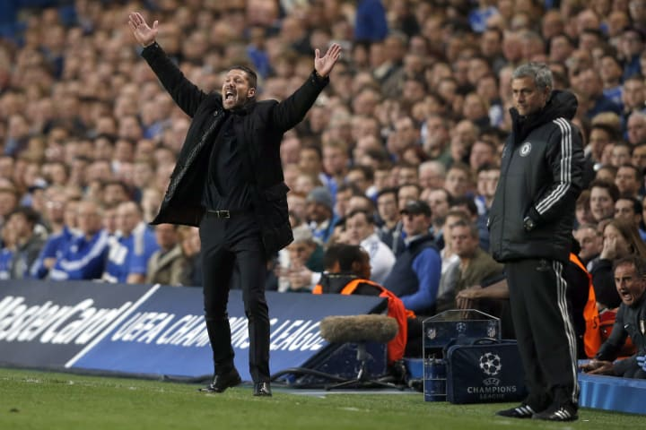 Simeone (left) is unbeaten in his three meetings with Jose Mourinho's sides in cup competitions