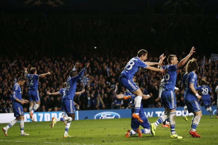 Chelsea players celebrate at the full-time whistle back in 2014