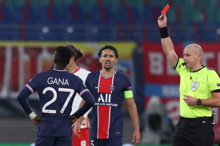 The first of two red cards for PSG