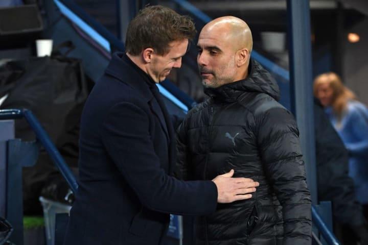 Englische Medien spekulieren: Nagelsmann (l.) könnte das Amt von Guardiola (r.) übernehmen