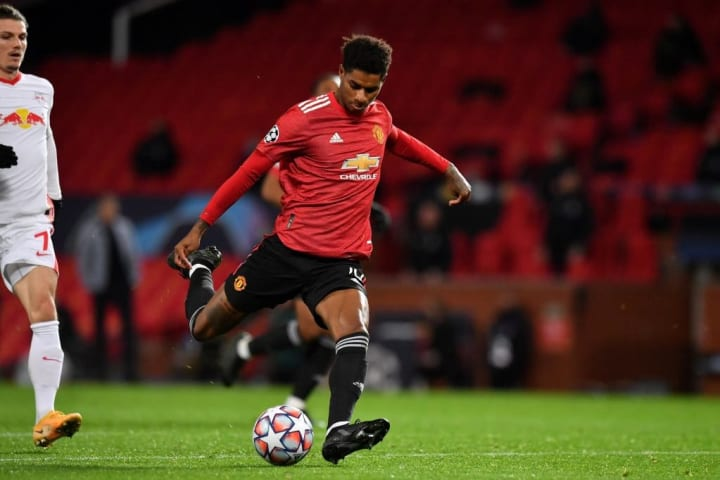 Marcus Rashford's first career hat-trick came against RB Leipzig in 2020