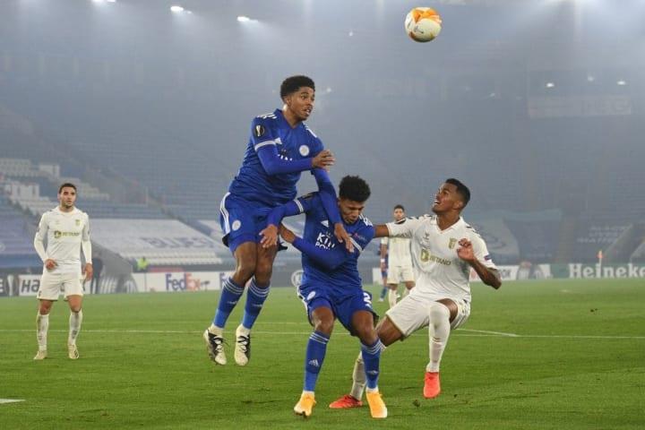 Fofana (centre) climbing in an aerial duel against Portuguese side Braga