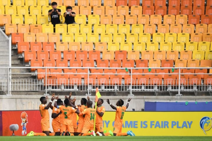 Zambia celebrate scoring against Italy at the 2017 Under 20 World Cup