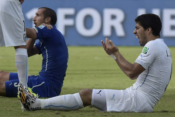 Luis Suarez was banned for four months for biting Giorgio Chielleini in 2014