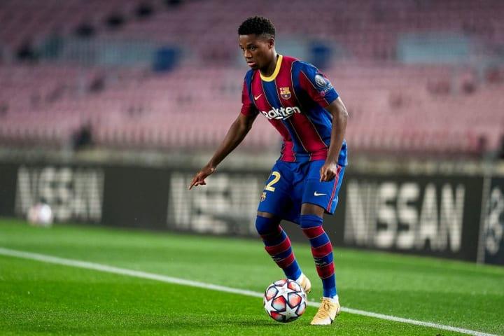 Ansu Fati in azione in Champions League