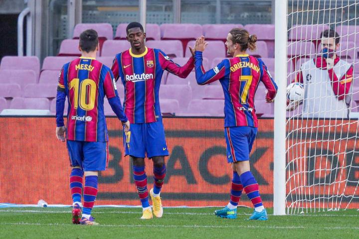 Antoine Griezmann, Lionel Messi, Trincao