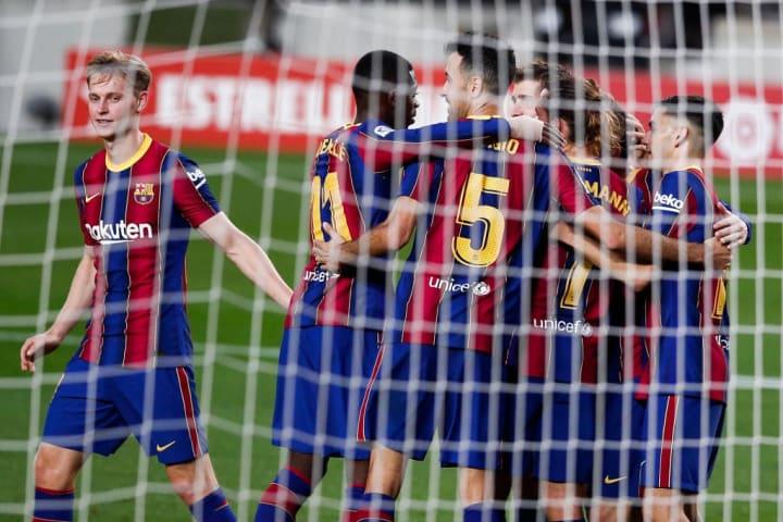Lionel Messi, Sergi Busquets, Frenkie De Jong, Ousmane Dembele, Antoine Griezmann