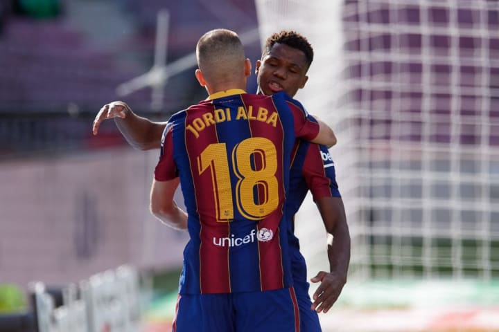 Ansu Fati celebrates restoring parity for Barcelona in El Clasico
