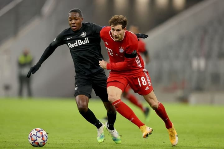 Enock Mwepu cette saison face au Bayern Munich.