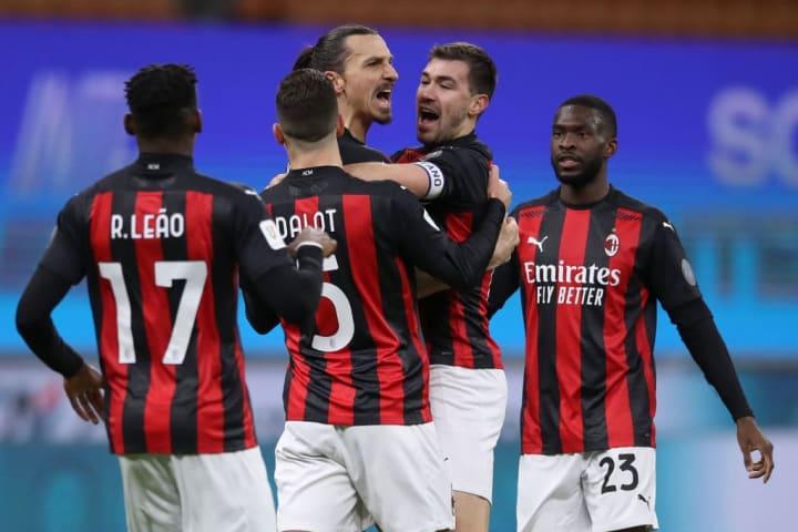 Zlatan Ibrahimovic, Alessio Romagnoli, Rafael Leao, Diogo Dalot, Fikayo Tomori