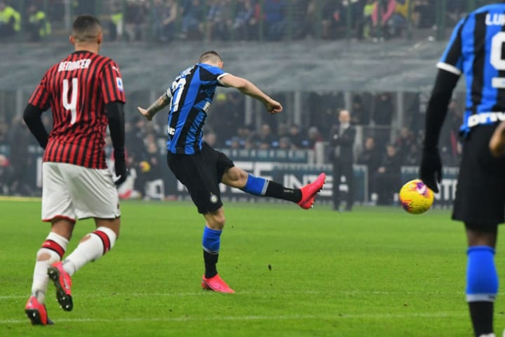 The Croat's impressive left-footed volley from distance sparked Inter's comeback win in February's Derby della Madonnina