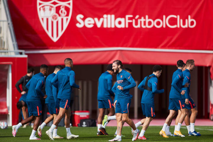 FC Sevilla - Press Conference And Training Session