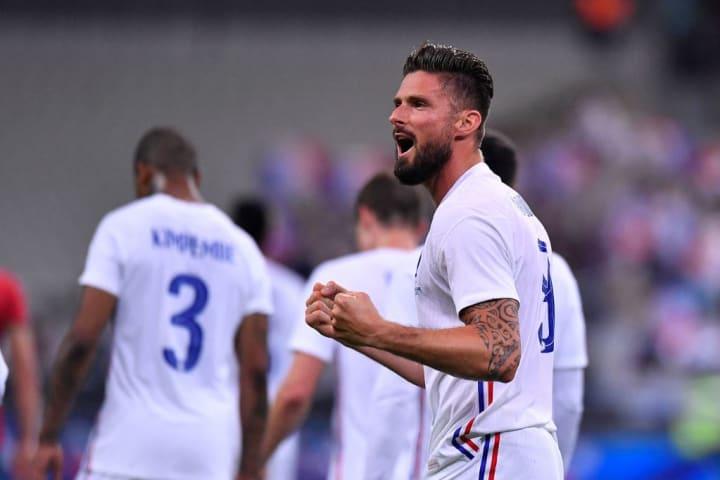 Olivier Giroud bejubelt seinen Treffer gegen Bulgarien