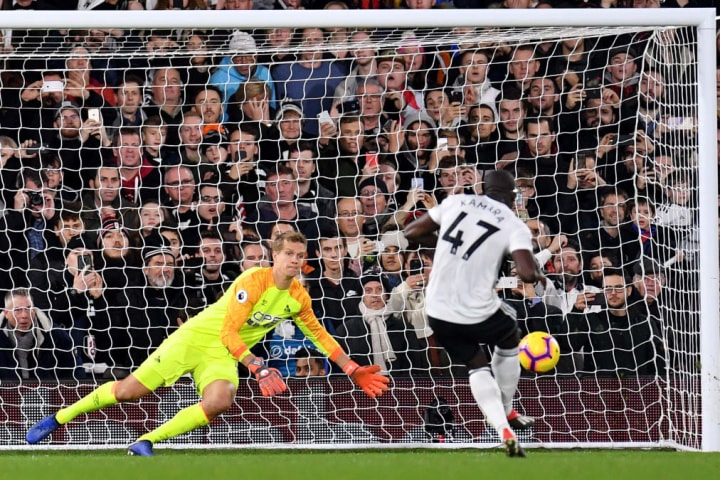 Aboubakar Kamara was in hot water at Fulham after this Lossl save