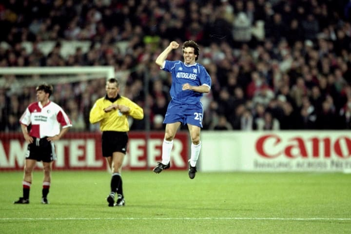 Zola celebrates a goal against Feyenoord with a little jump
