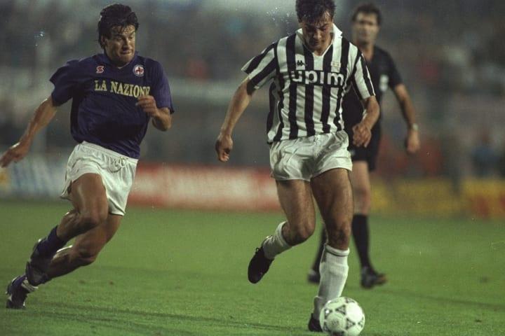 Gianluigi Casiraghi of Juventus and Dunga of Florentina