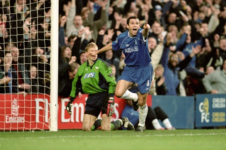Gustavo Poyet spent four seasons at Chelsea after moving on a free transfer in 1997