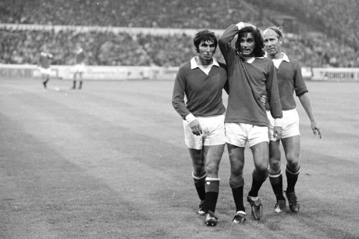 Tony Dunne, George Best, Bobby Charlton