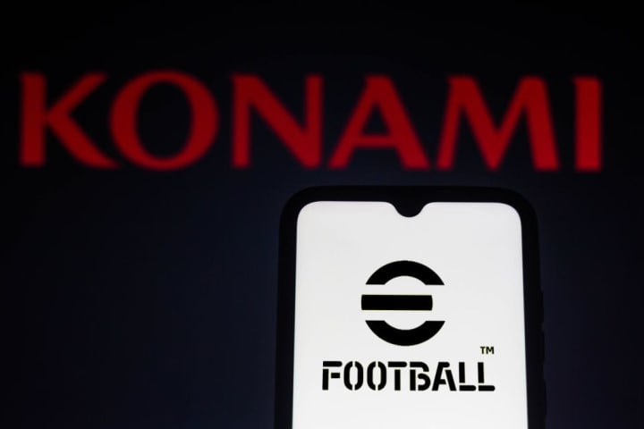 In this photo illustration, eFootball logo game seen...