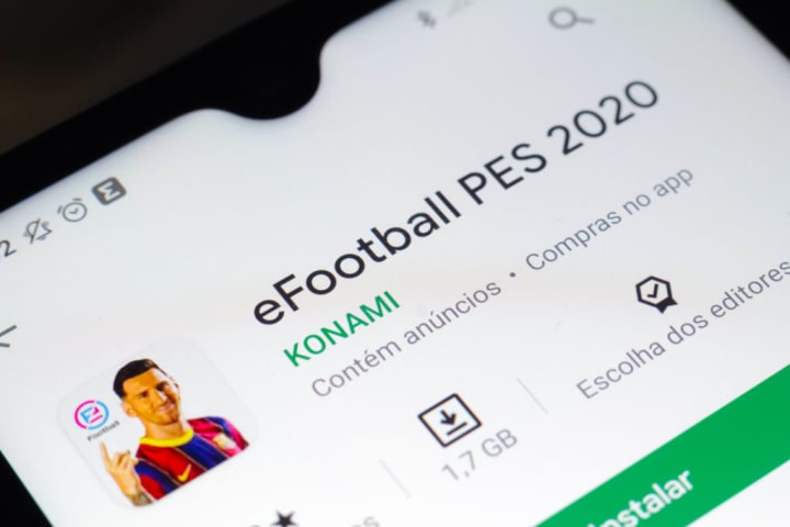 In this photo illustration the eFootball PES 2020 logo seen...