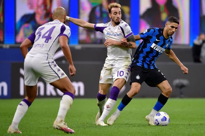 Hakimi in action on his Inter debut