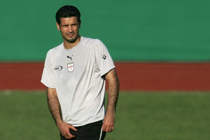 Iranian forward Ali Daei walks during a