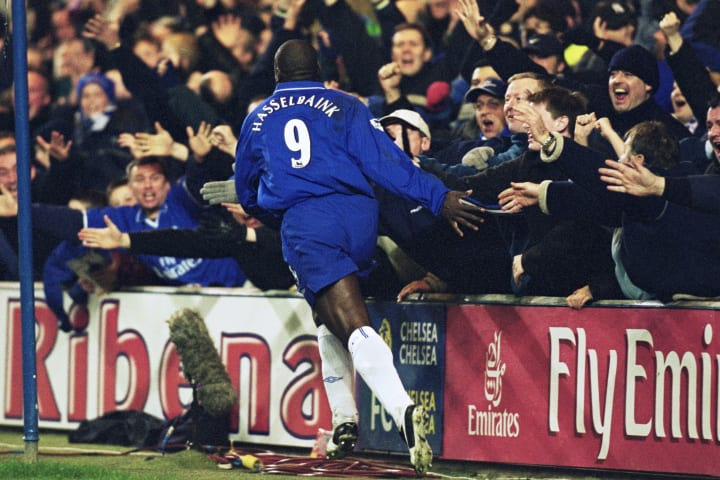 Hasselbaink celebrates his goal against Liverpool