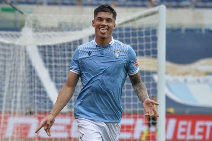 Joaquin Correa of SS Lazio celebrates after scoring the goal...