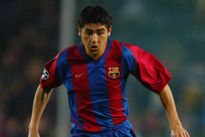 Juan Roman Riquelme of Barcelona running with the ball at his feet