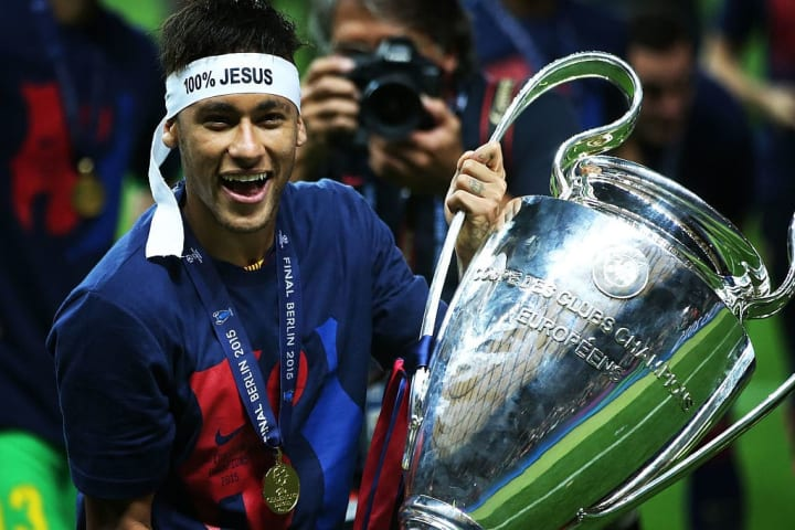 Neymar got his hands on the Champions League when Barcelona beat Juventus