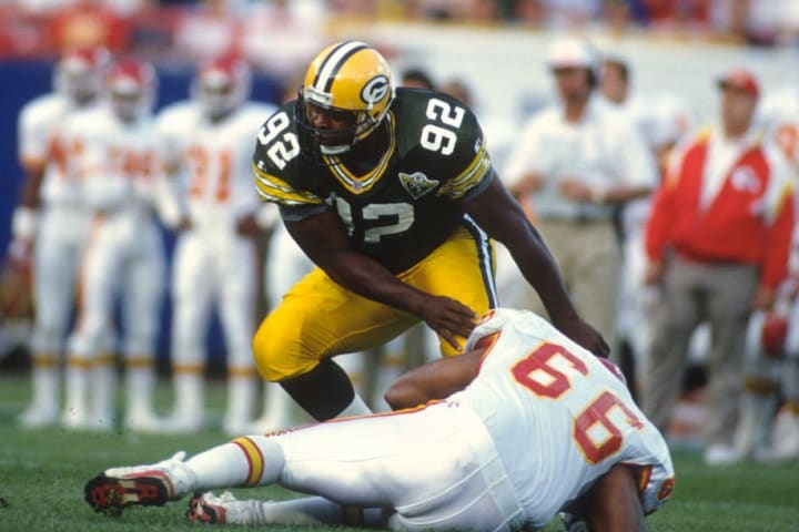 Former Packers defensive tackle Reggie White during a game against the Kansas City Chiefs.