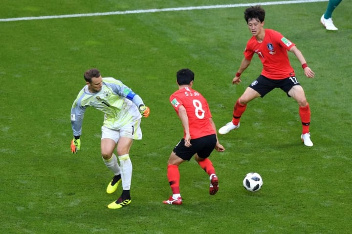 Neuer losing the ball against South Korea at the 2018 World Cup