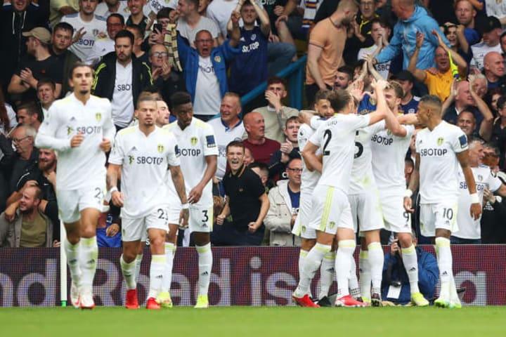 Mateusz Klich celebrates his goal for Leeds